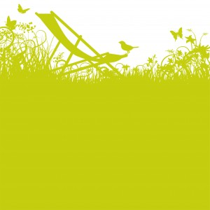 Grashalme Vogel und Liegestuhl